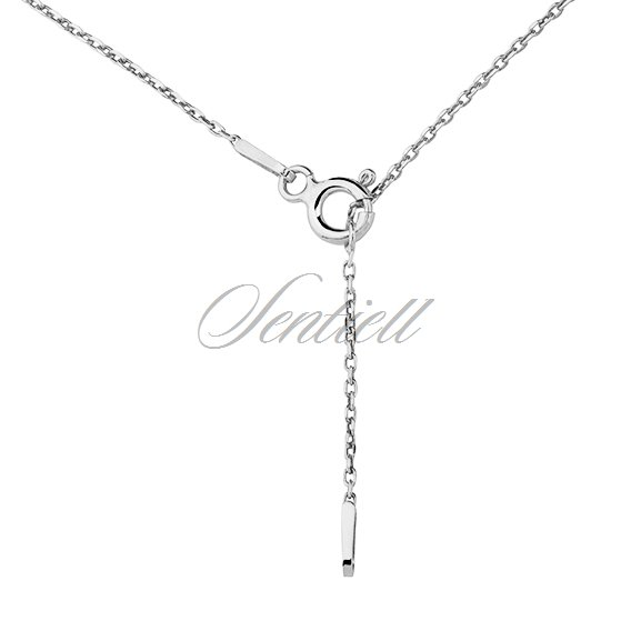 Silver (925) lariat necklace with leaf pendant and circle