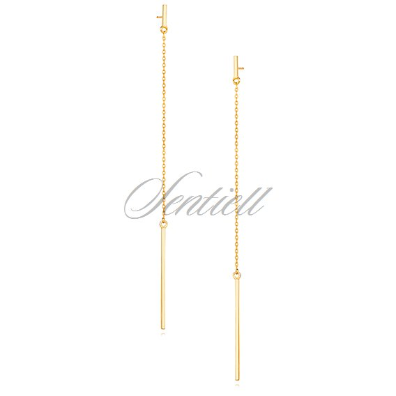 Silver (925) long, gold plated earrings