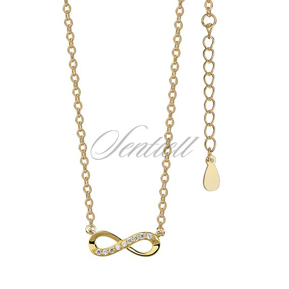 Silver (925) necklace Infinity with zirconia gold-plated