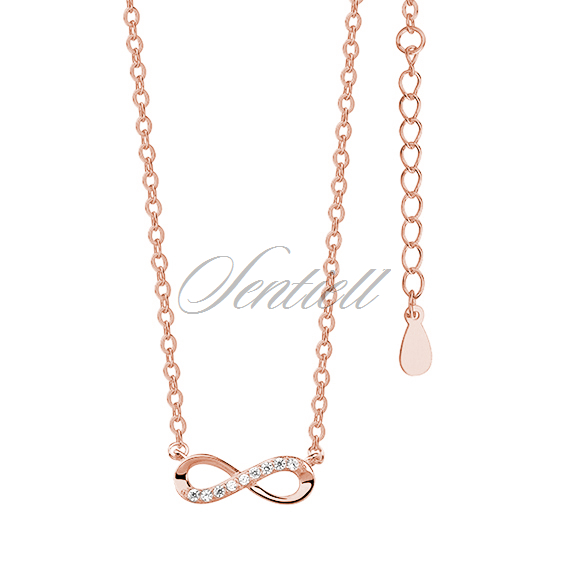 Silver (925) necklace Infinity with zirconia rose gold-plated
