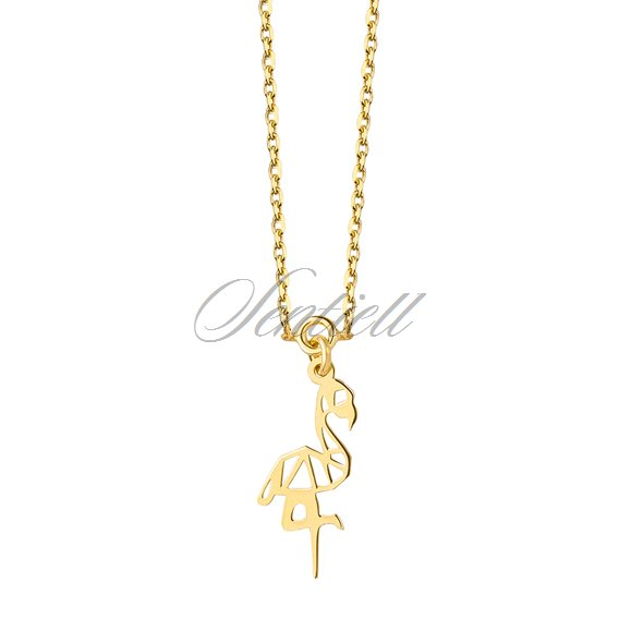 Silver (925) necklace - Origami flamingo, gold-plated