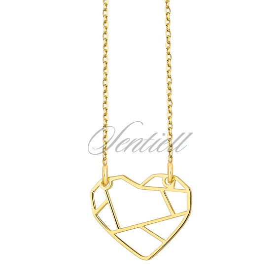 Silver (925) necklace - Origami heart gold-plated