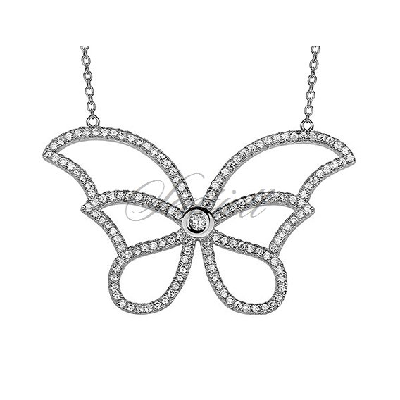 Silver (925) necklace - butterfly with zirconia