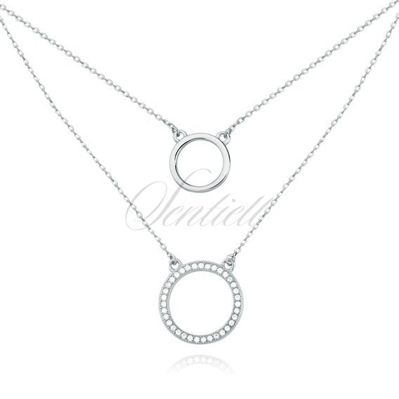 Silver (925) necklace - cirlces with zirconia