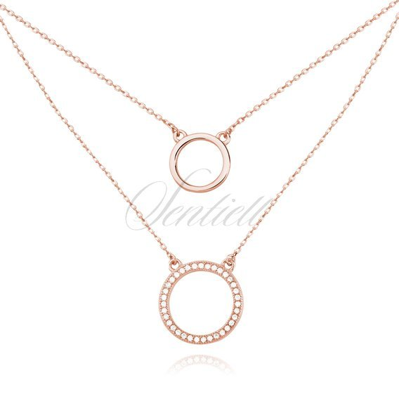 Silver (925) necklace - cirlces with zirconia - rose gold plated