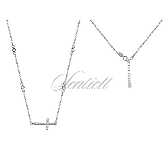 Silver (925) necklace cross with zirconia