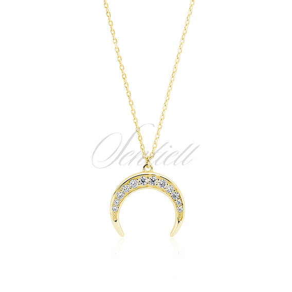 Silver (925) necklace - gold-plated crescent with zirconia