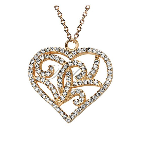 Silver (925) necklace - gold-plated, open-work heart with zirconia