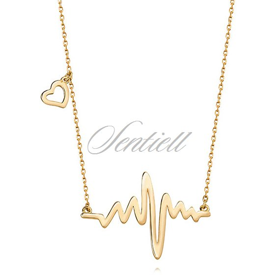 Silver (925) necklace heart and heartbeat - gold-plated