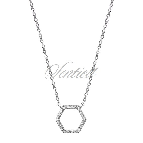 Silver (925) necklace - hexagon with zirconia