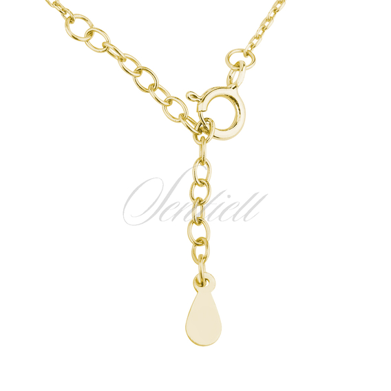 Silver (925) necklace of celebrities with circles & zirconia gold-plated