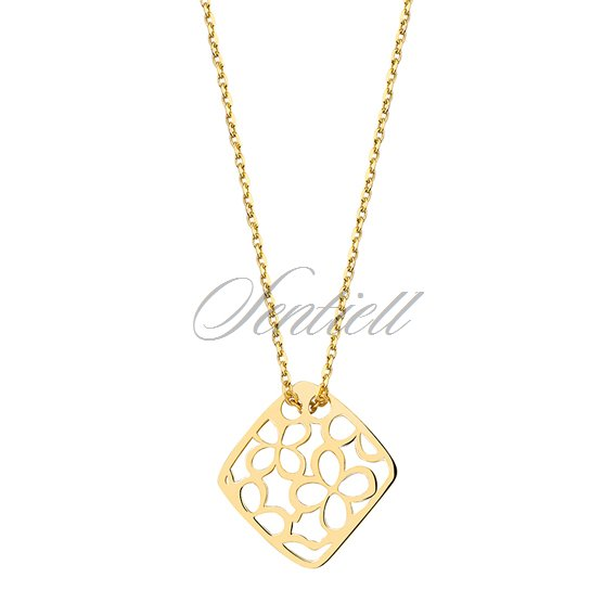 Silver (925) necklace - open-work pendant with flowers - gold-plated