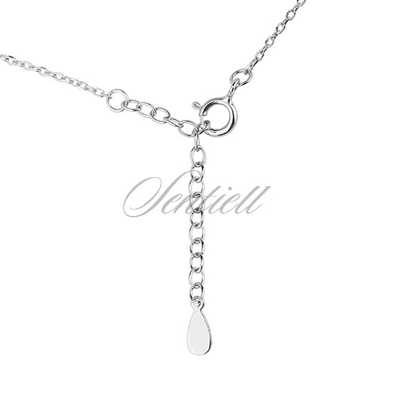 Silver (925) necklace - rectangle pendant with zirconia