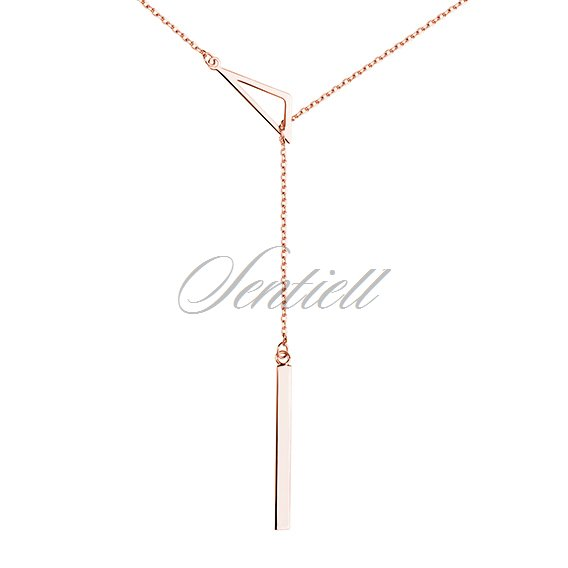 Silver (925) necklace - triangle, rose gold-plated
