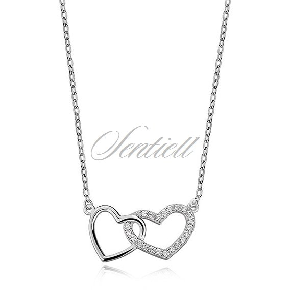 Silver (925) necklace two hearts with zirconia