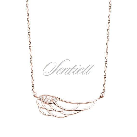 Silver (925) necklace - wing with zirconia, rose gold-plated