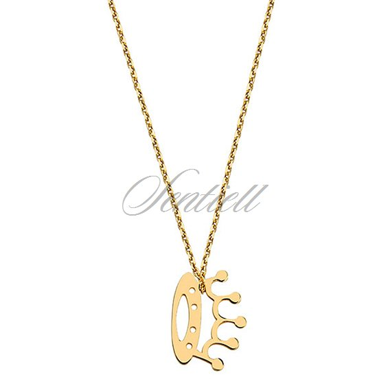 Silver (925) necklace with crown, gold-plated