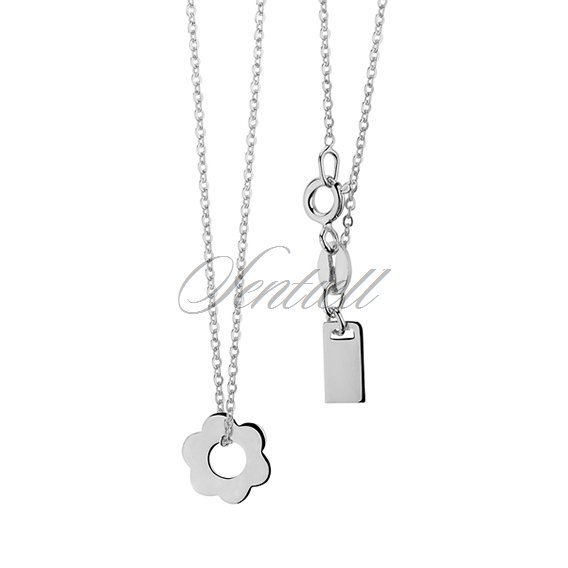 Silver (925) necklace with flower and metal tag