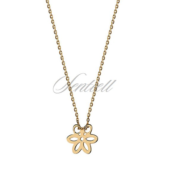 Silver (925) necklace with flower, gold-plated