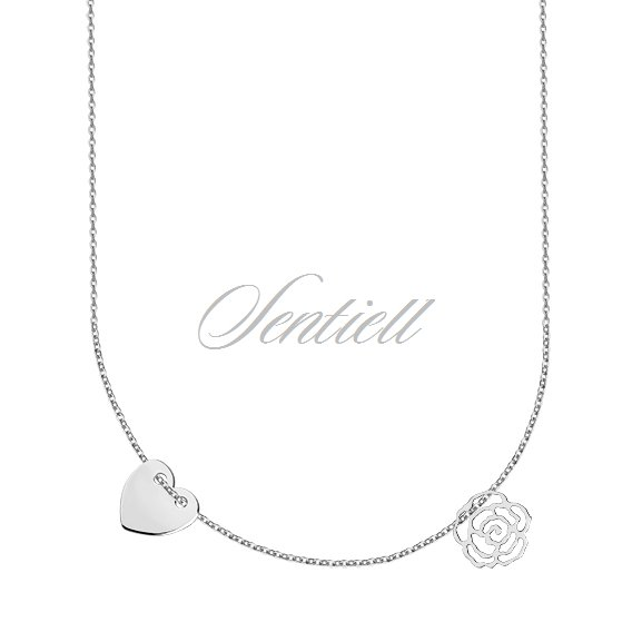 Silver (925) necklace with heart and rose