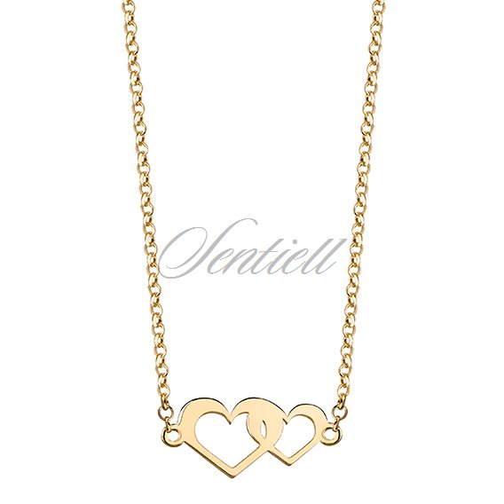 Silver (925) necklace with hearts - gold plated