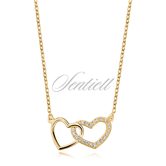 Silver (925) necklace with hearts pendant, gold-plated