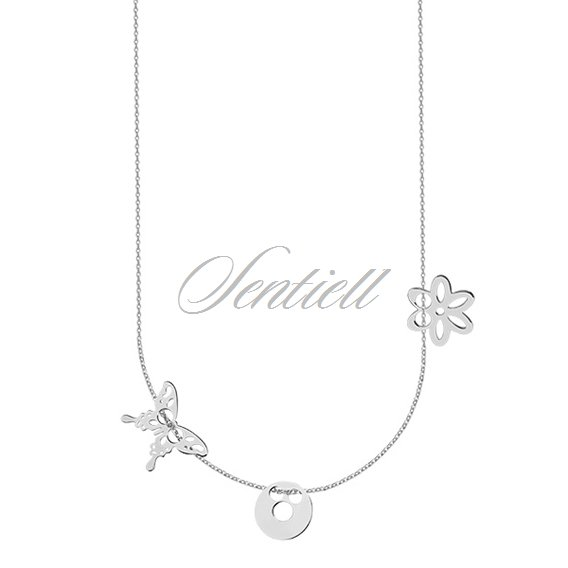 Silver (925) necklace with open-work butterfly, circle and flover