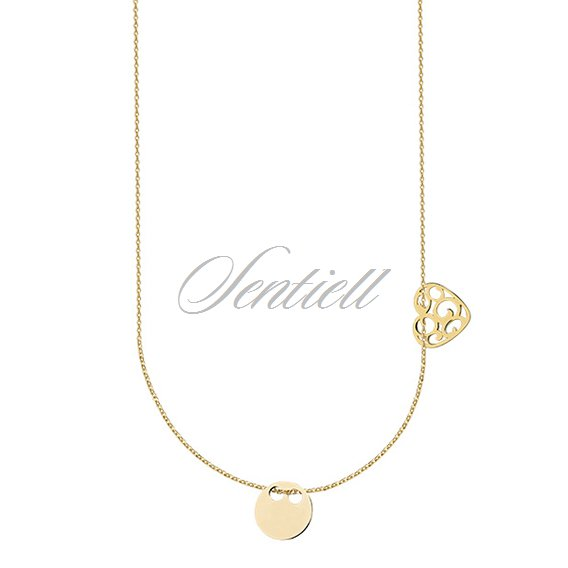 Silver (925) necklace with open-work heart and circle, gold-plated