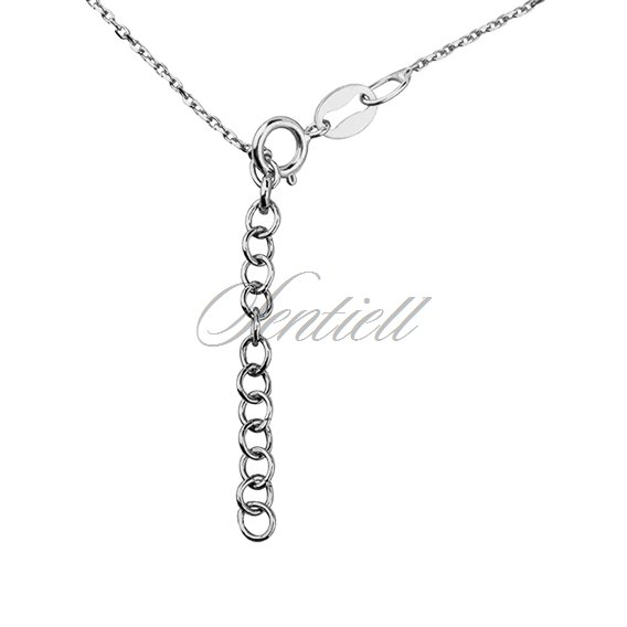 Silver (925) necklace with open-work heart, circle and clover