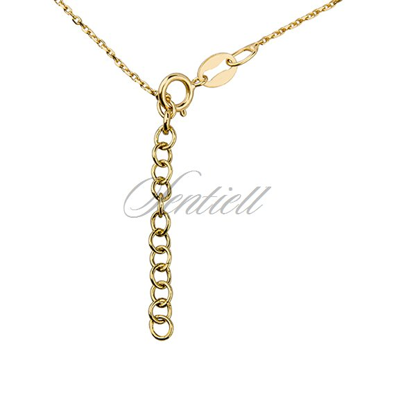 Silver (925) necklace with open-work heart, circle and clover, gold-plated