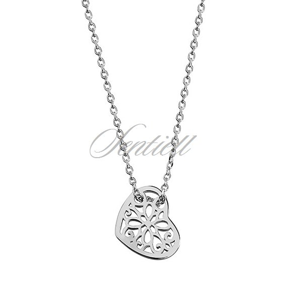 Silver (925) necklace with open-work heart pendant