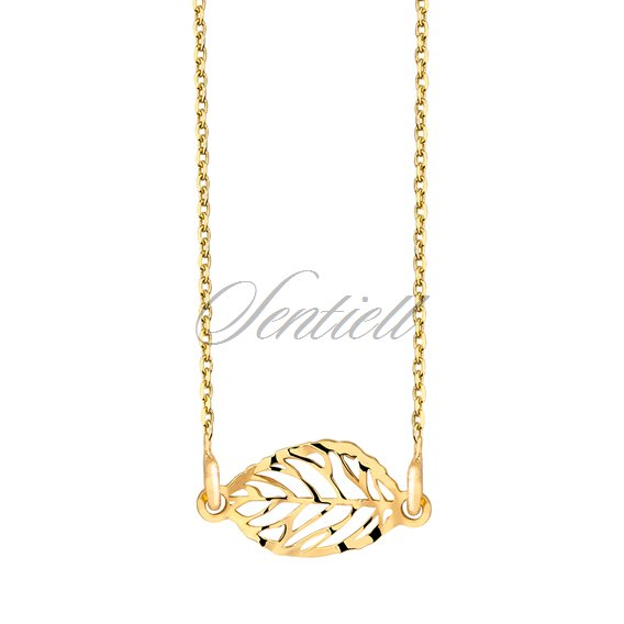 Silver (925) necklace with open-work leaf pendant - gold-plated