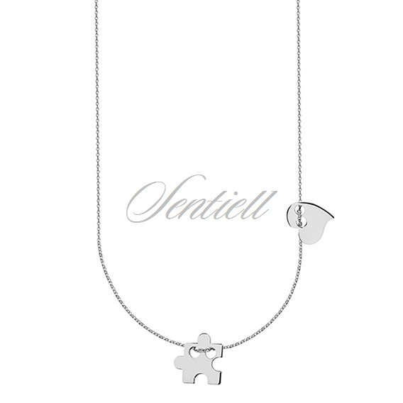 Silver (925) necklace with puzzel and heart