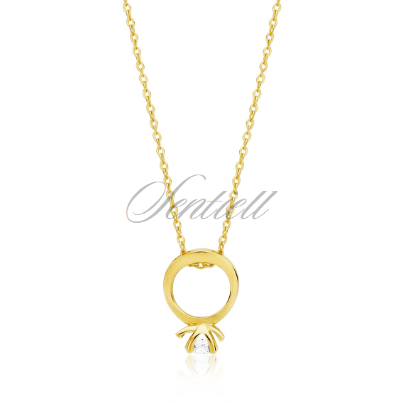 Silver (925) necklace with ring pendant - gold-plated