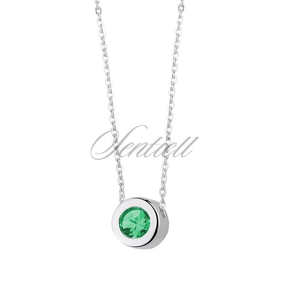 Silver (925) necklace with round pendant and emerald zirconia