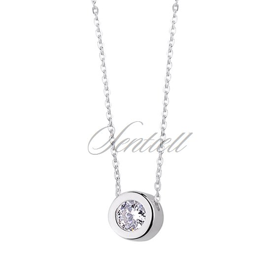 Silver (925) necklace with round pendant and zirconia