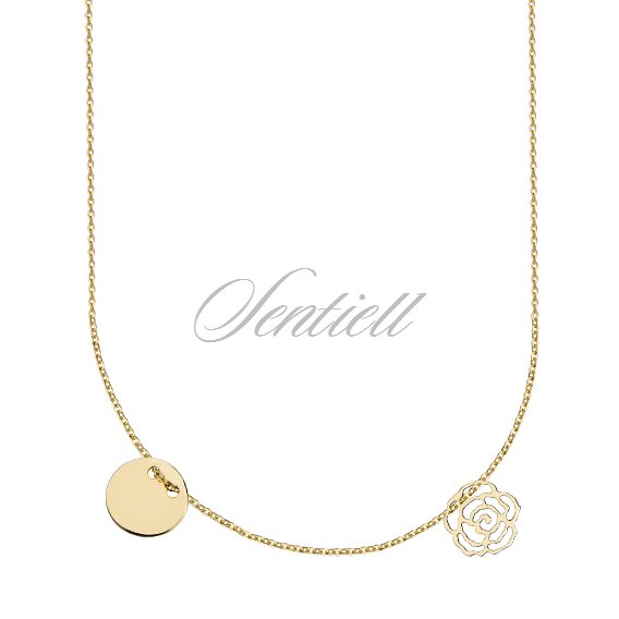 Silver (925) necklace with round shape pendant and rose, gold-plated