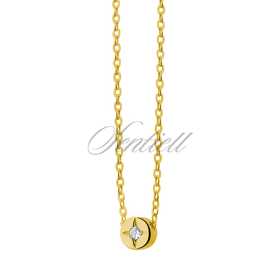 Silver (925) necklace with round zirconia pendant