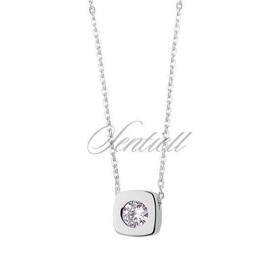 Silver (925) necklace with square pendant and zirconia
