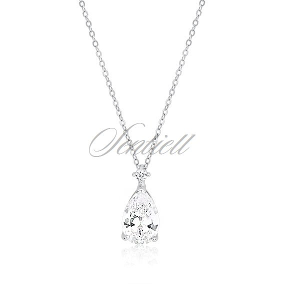 Silver (925) necklace with white zirconia  - teardrop