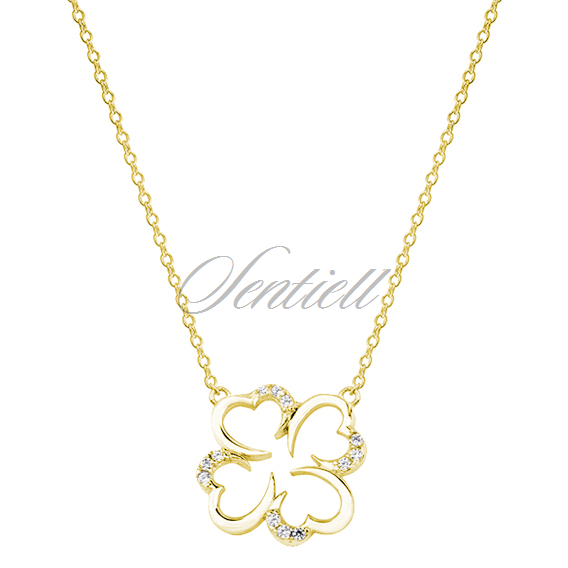 Silver (925) necklace with zirconia - gold-plated clover