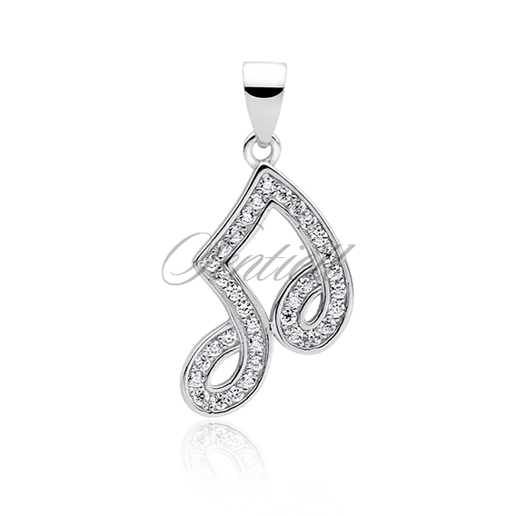 Silver (925) note pendant with zirconia