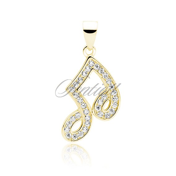 Silver (925) note pendant with zirconia - gold-plated