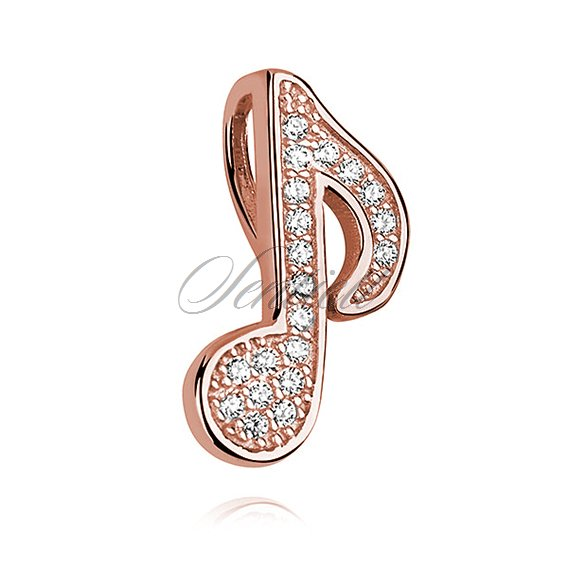 Silver (925) note pendant with zirconia - rose gold-plated