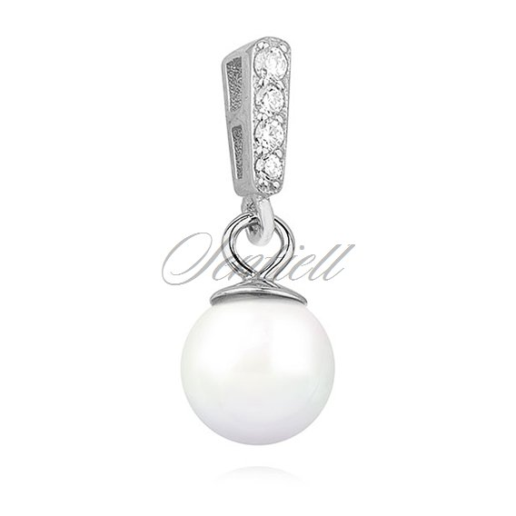 Silver (925) pearl pendant with zirconia