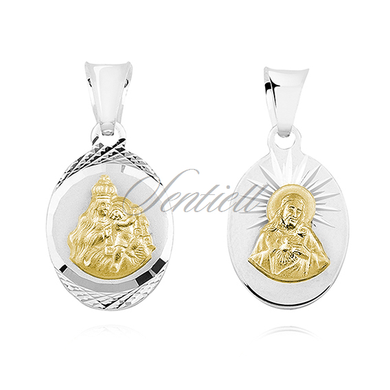 Silver (925) pendant - Jesus Christ / Scapular Mary - gold-plated