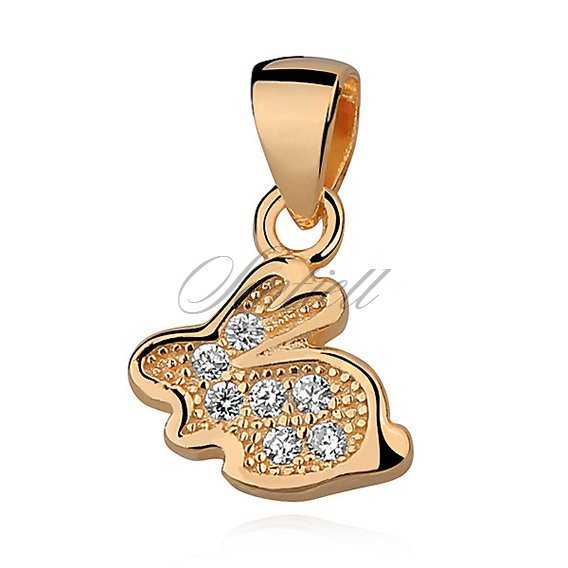 Silver (925) pendant - bunny with zirconia, gold-plated
