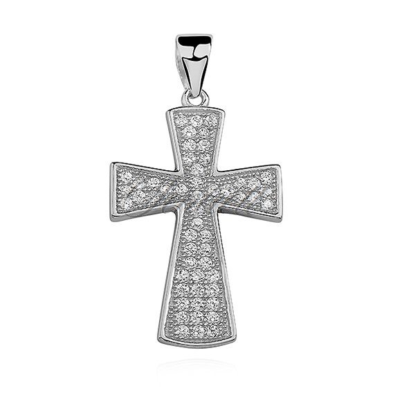 Silver (925) pendant cross with two rows of zirconia