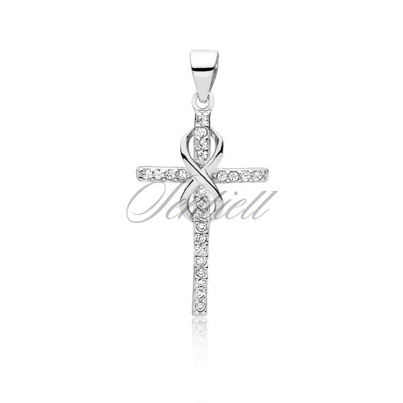 Silver (925) pendant cross with zirconia and infinity sign