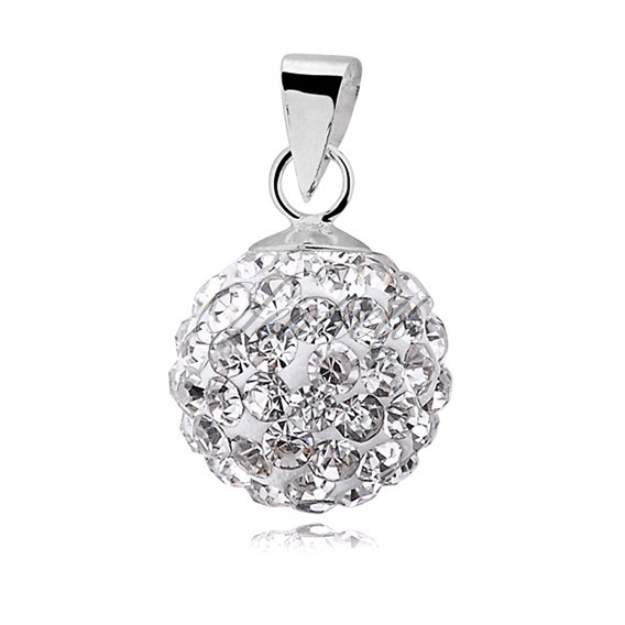 Silver (925) pendant disco ball 10mm white